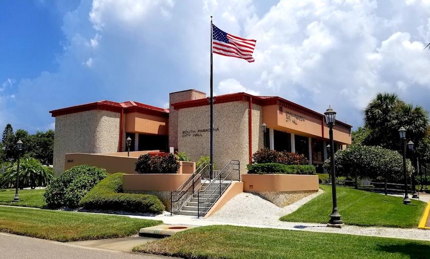 South Pasadena Florida City Hall  with Flag