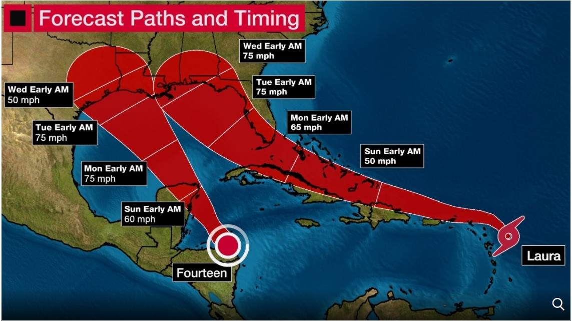 A screencap from the Weather Channel showing the possible merging paths of tropical storms/hurricanes in the Gulf of Mexico with timing estimates