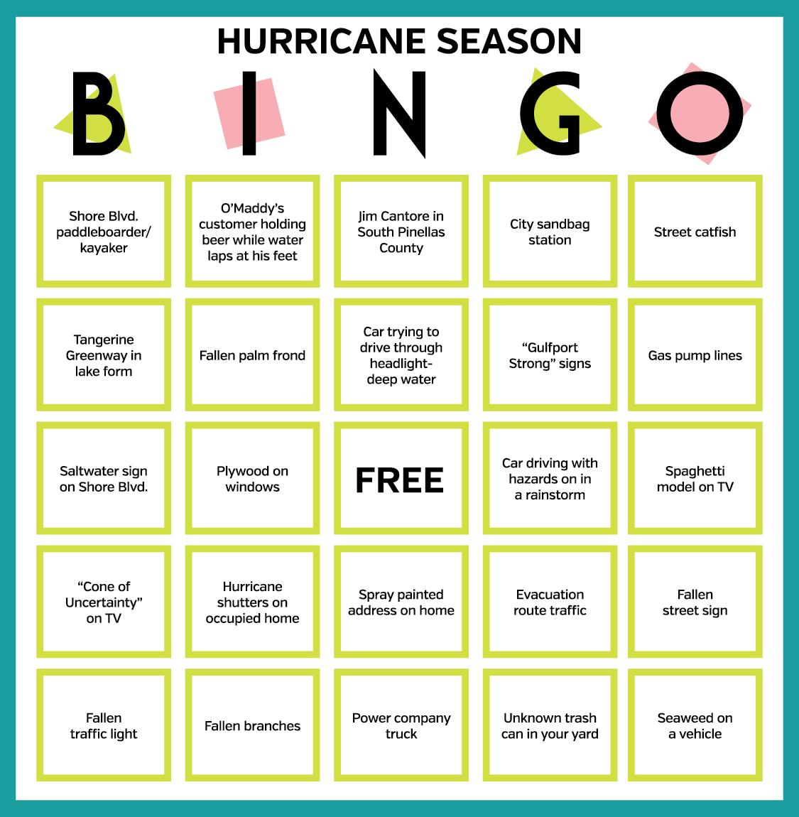 Hurricane bingo card