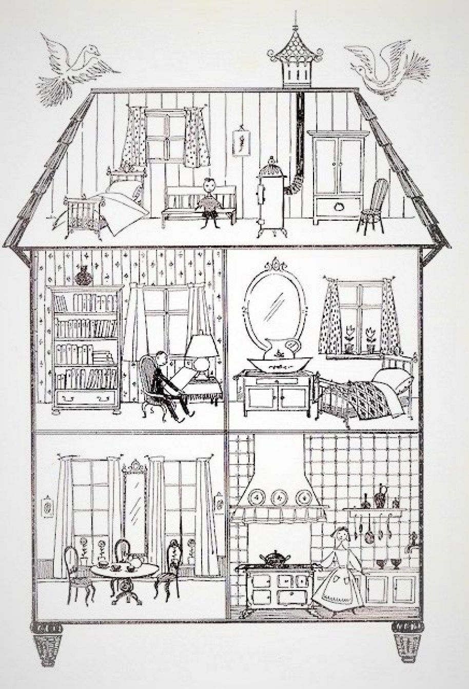 A drawing of the interior of a three-story dollhouse with furnishings