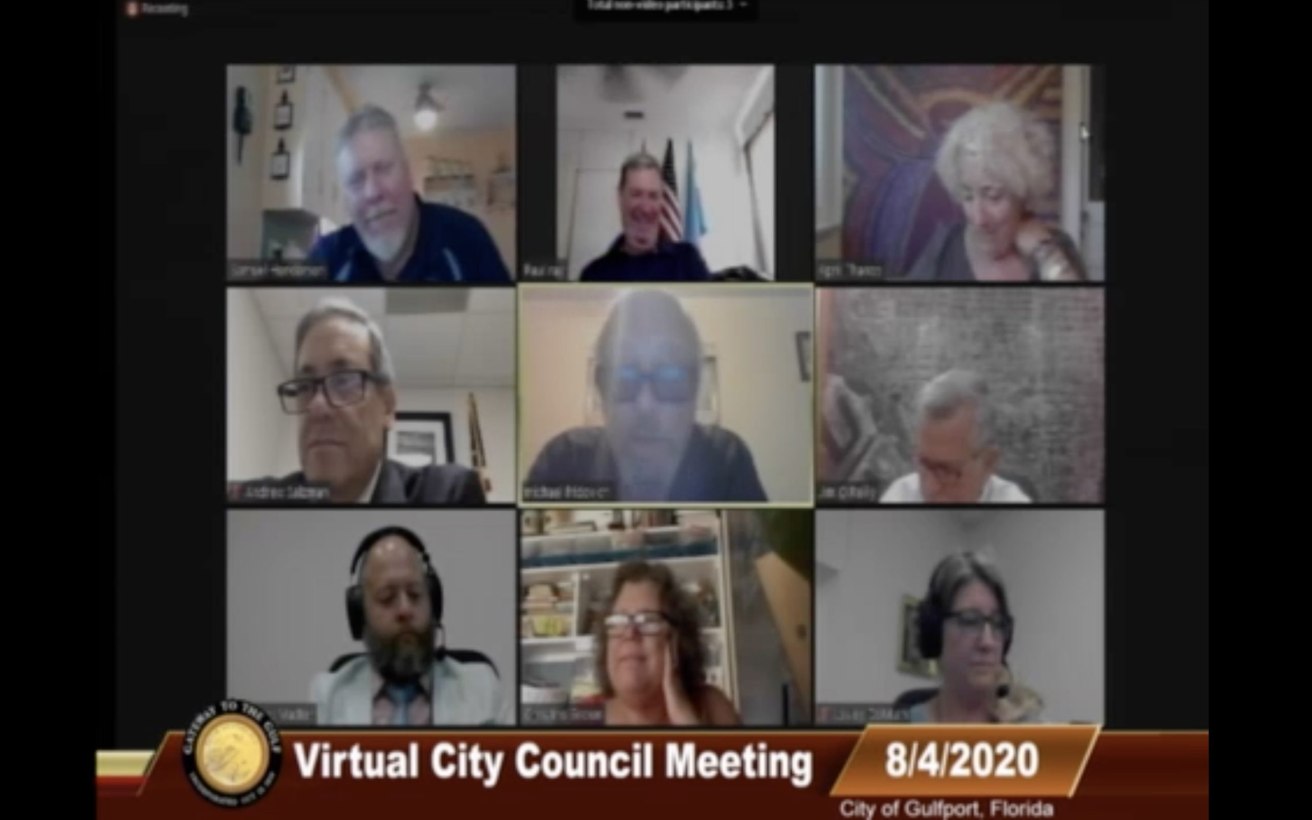 Screenshot from the Gulfport Florida City Council virtual meeting Tuesday, August 4.