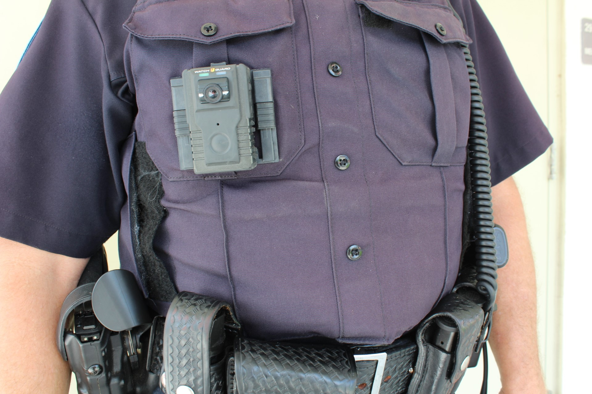 Body camera on a police officer