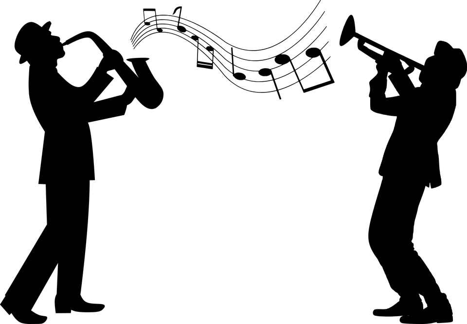 two silhouettes, one playing a trombone, one playing a saxophone