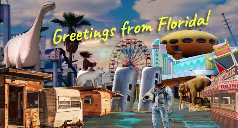 """A collage of images featuring a headless spaceman, dinosaur, fairgrounds, trailer park and spaceship with the words """"Greetings from Florida"""" over it."""