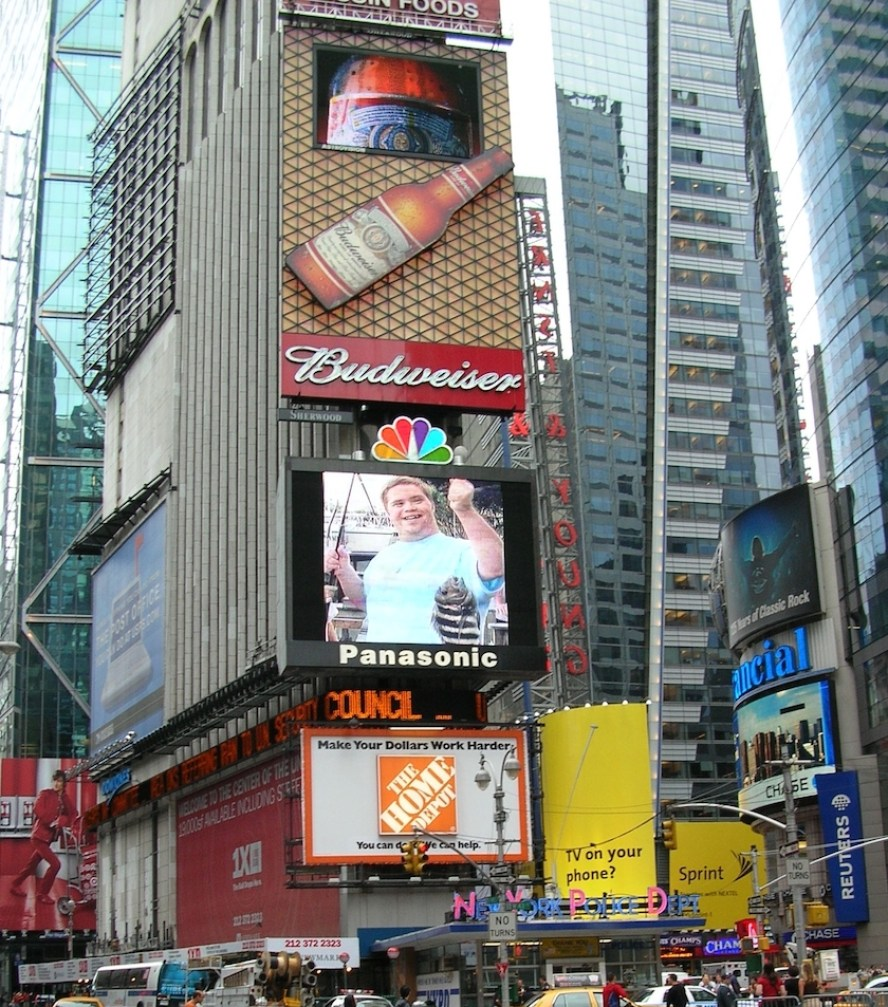 A photo of billboards in Times Square New York City,