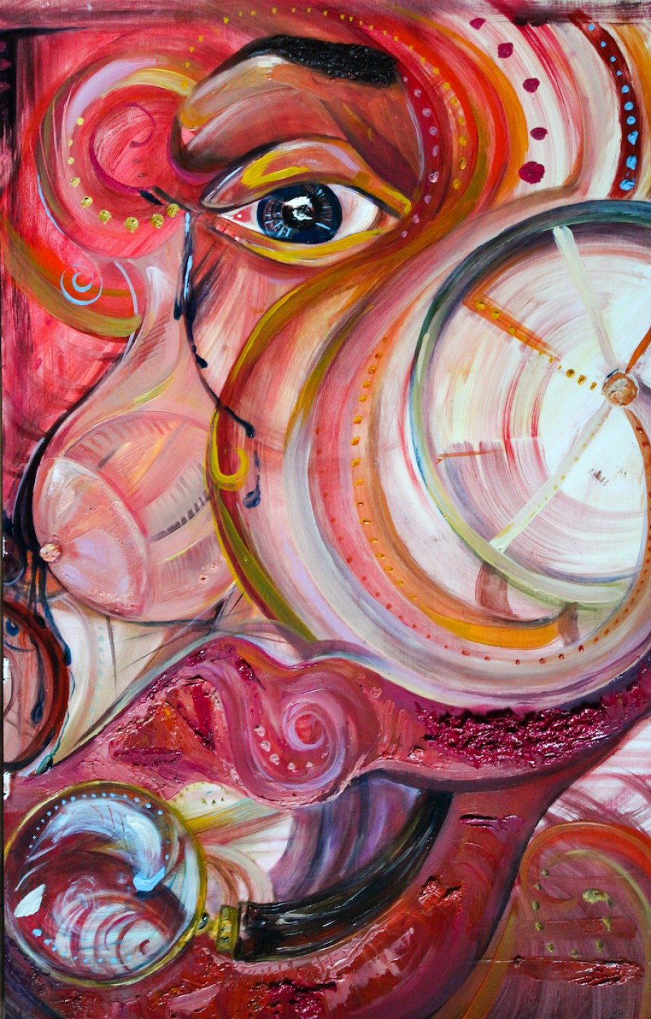An abstract painting in pinks, reds and oranges swirling with a human eye at the top.