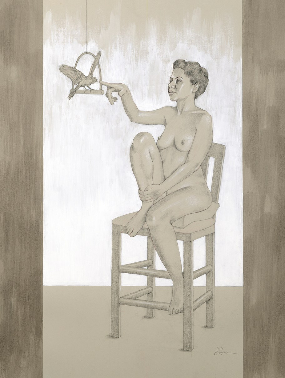 A drawing of a nude woman on a chair reaching out to a bird