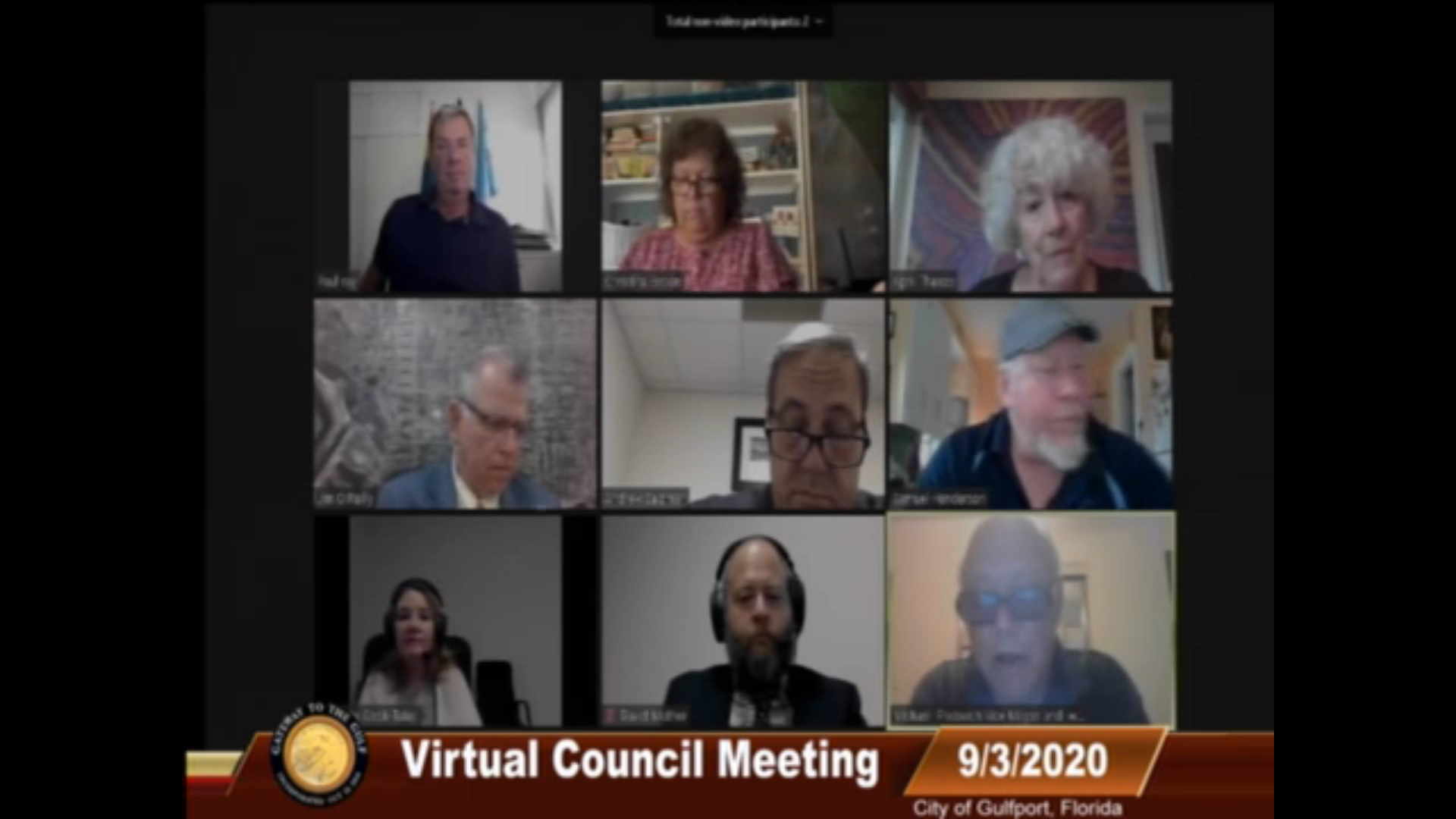Screenshot of a Gulfport Florida City Council Meeting with council members Via Zoom.