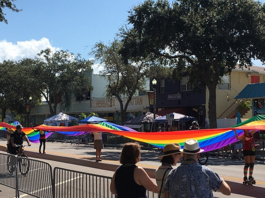 People watching a parade with a long rainbow flag walking down the street.