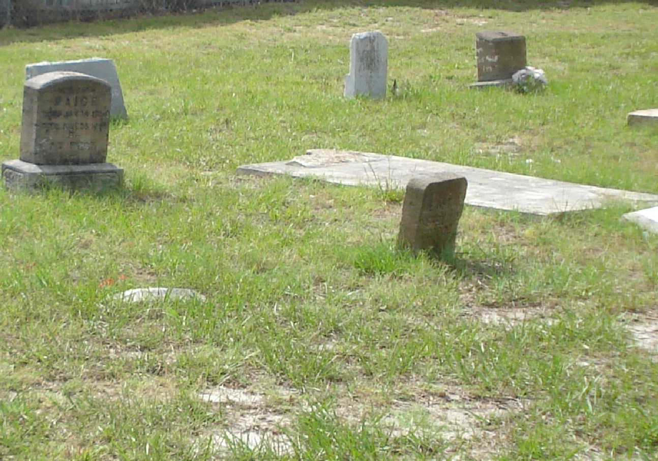 A plot of patchy green grass with headstones.