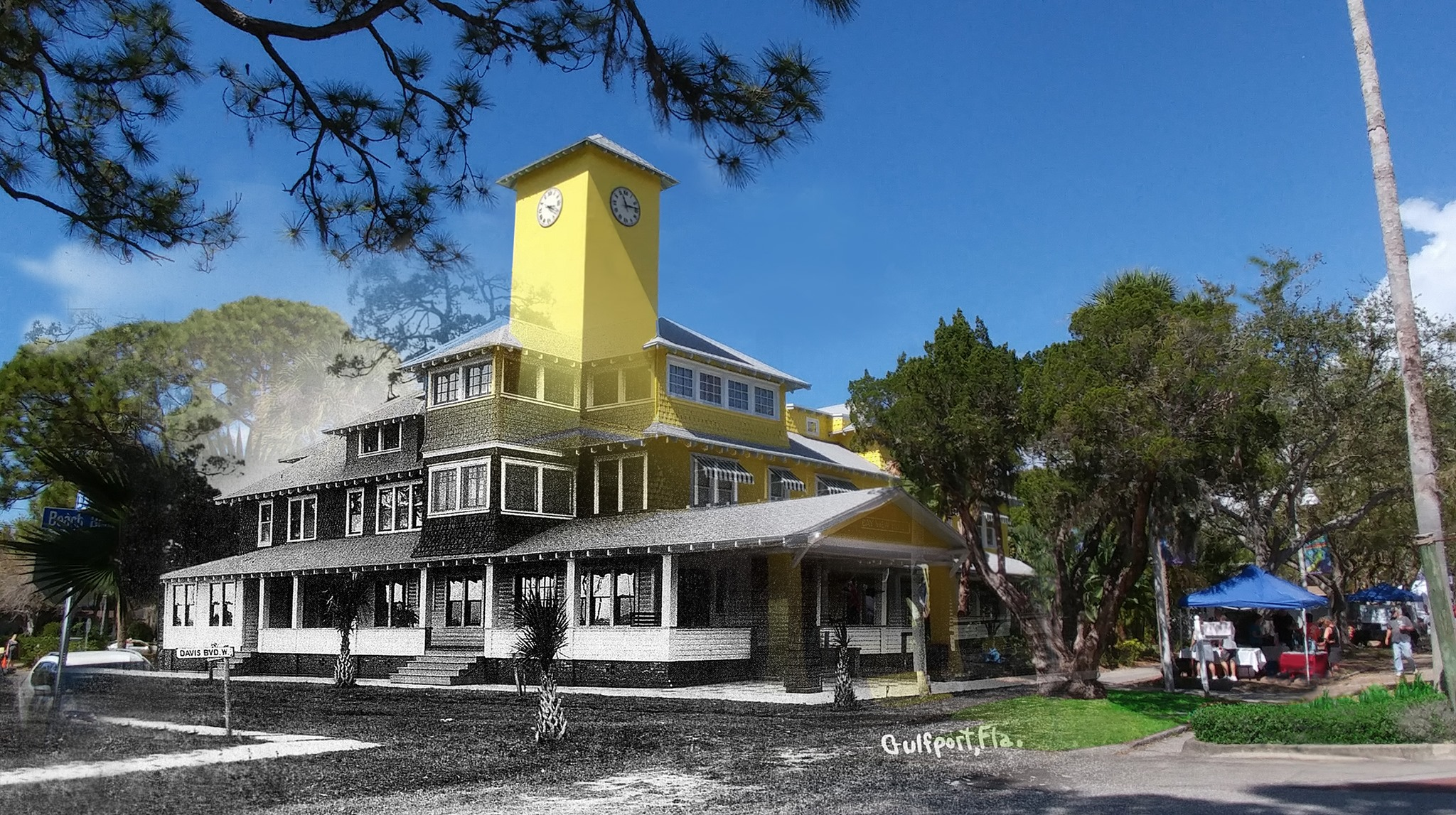 A photo of a large yellow building, half black & white, merged with a historical photo.