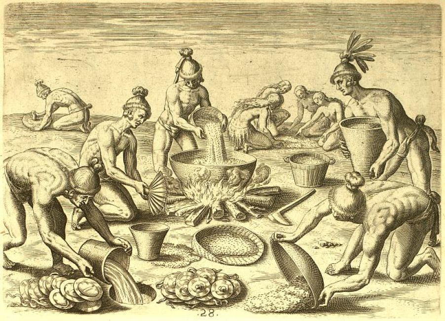 A historical drawing of indigenous people making food