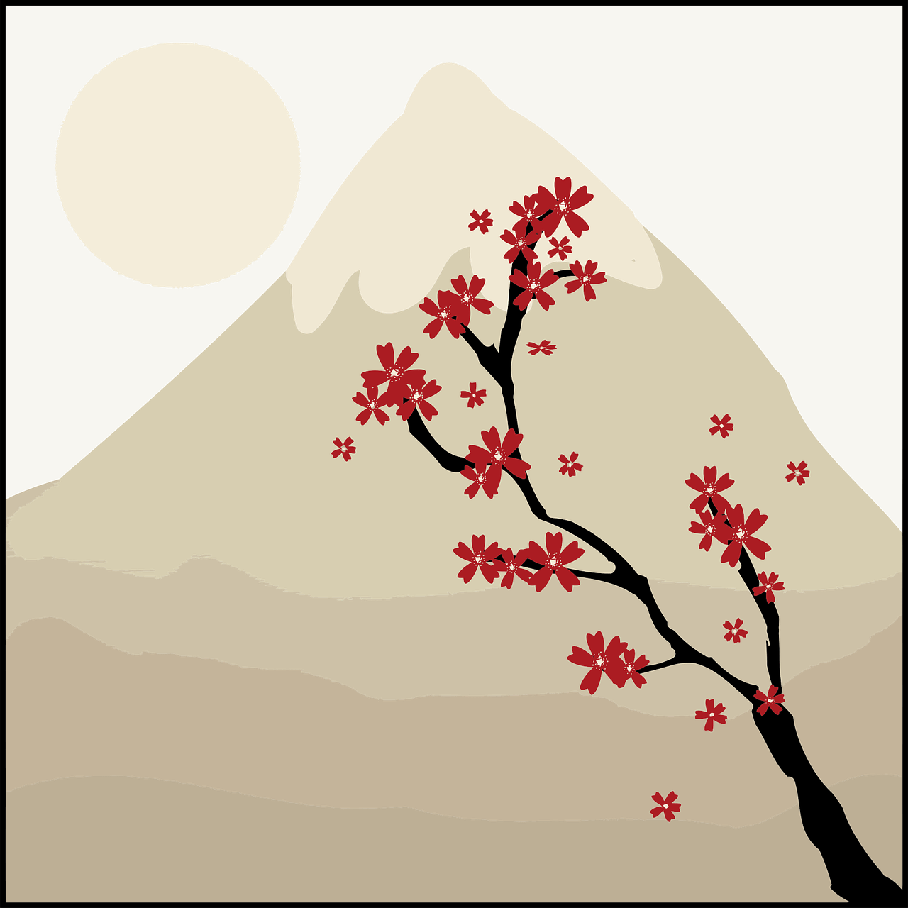 Japanese art drawing of a mountain, moon and a cherry tree branch