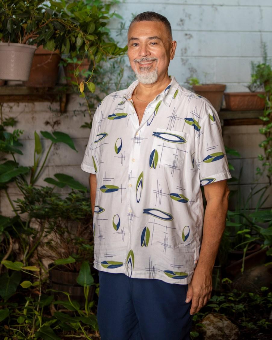 A man in a short-sleeved shirt