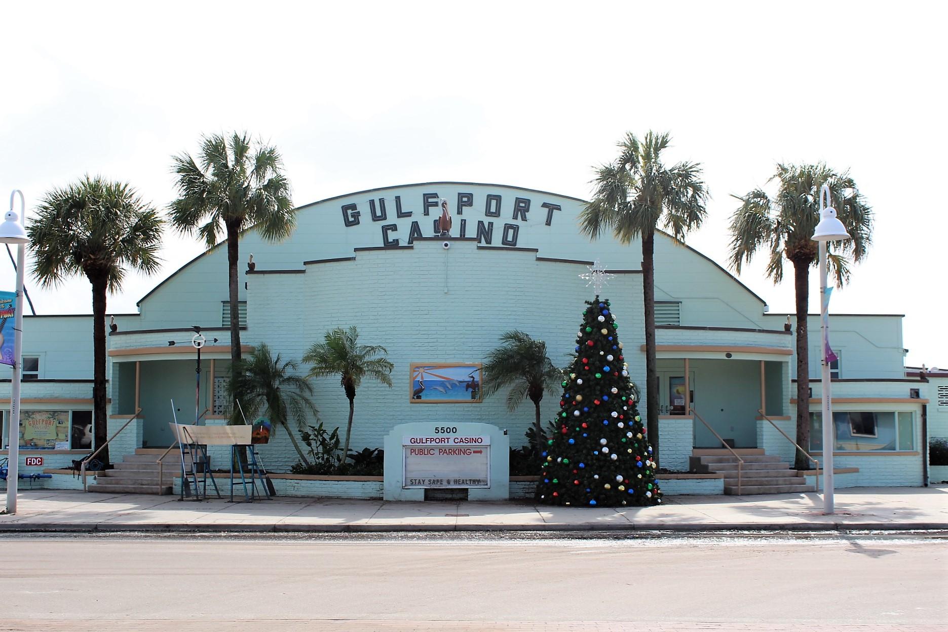 The Gulfport Casino with Christmas display