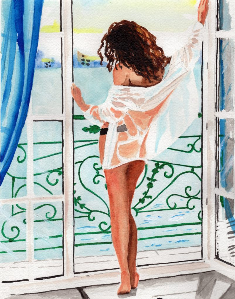 painting of woman standing in underwear and shirt looking out on the water – painting by Ron Czerniec