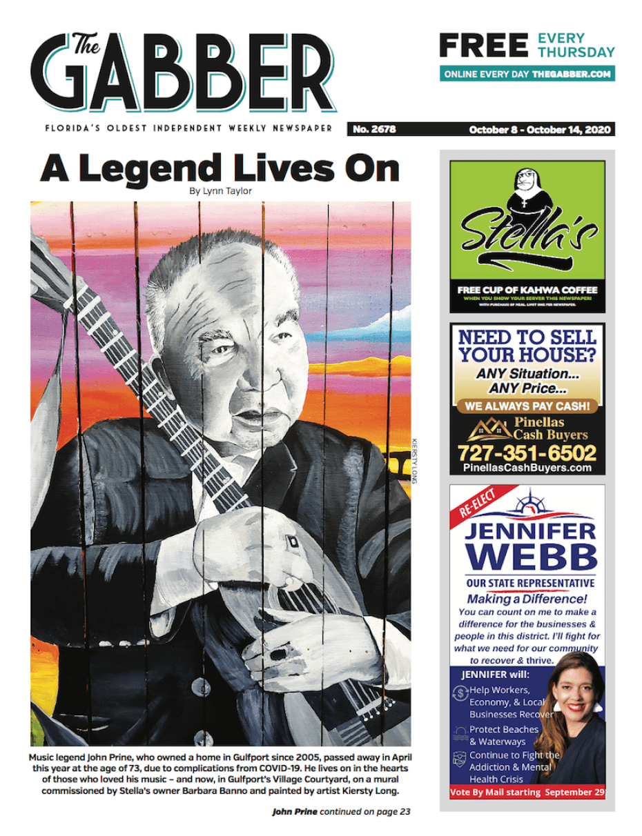 Gabber Newspaper cover for October 8, 2020 featuring a story about a mural tribute to John Print in Gulfport Florida