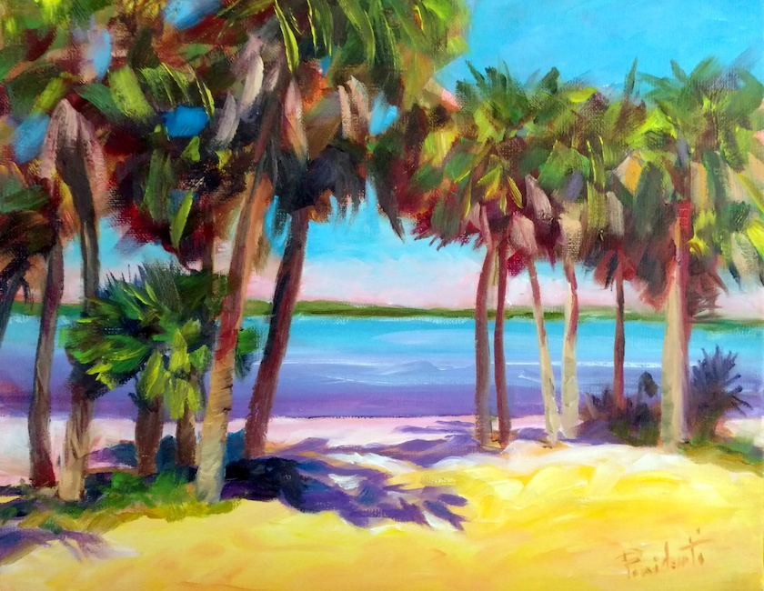 A pastel colored waterfront scene with palm trees