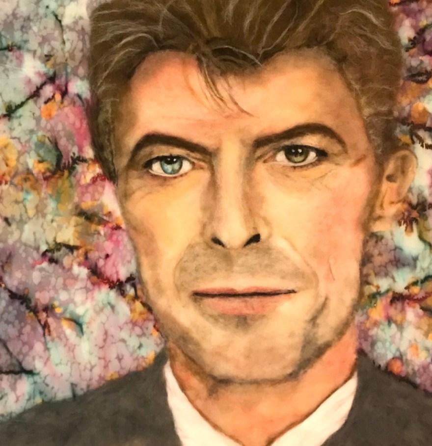 A fiber art portrait of David Bowie.
