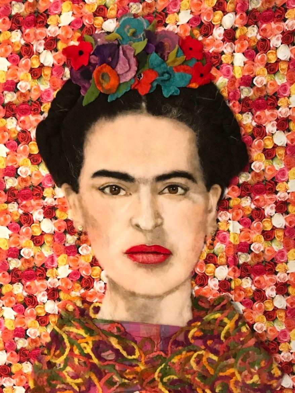 A colorful fiber portrait of Frida Khalo