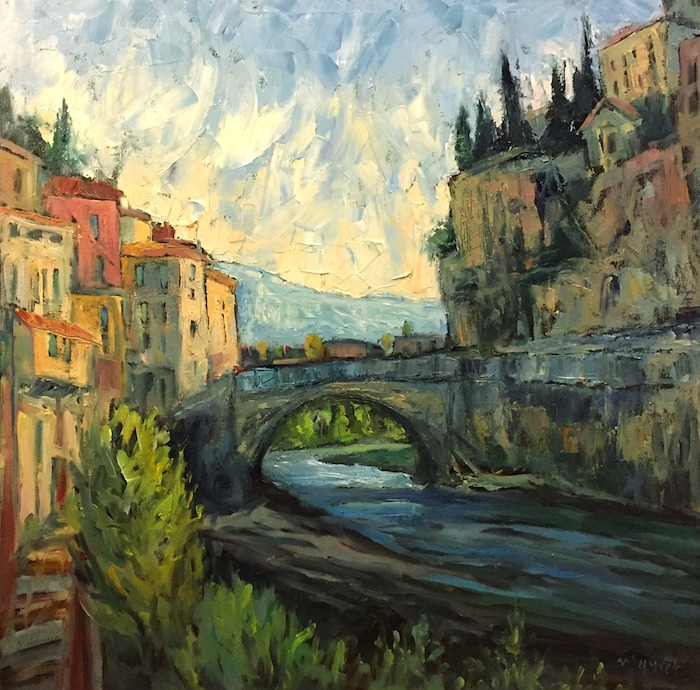 Painting of an Italian village with a bridge running through river