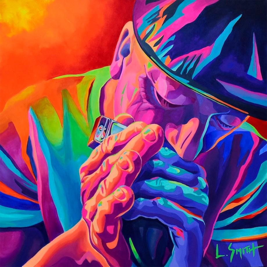 A multicolored painting of a man playing harmonica