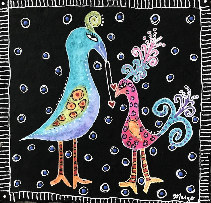 An abstract drawing of birds on a black background