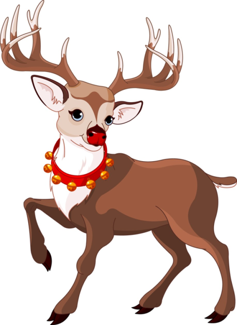 A drawing of Rudolph the Red-Nosed Reindeer.