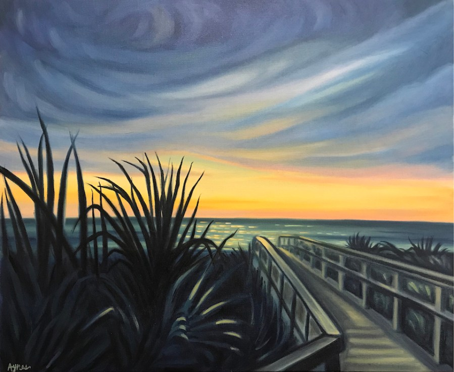 A painting of a blue sunset beach scene.