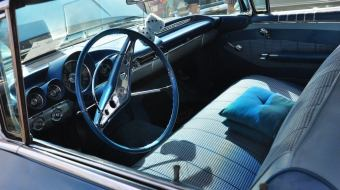 Inside of a car at the 12th annual So Classic Car Show.