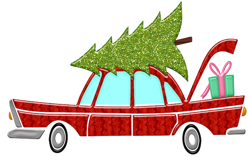 A drawing of a red car with a greet Christmas tree on top and a wrapped present in the trunk.