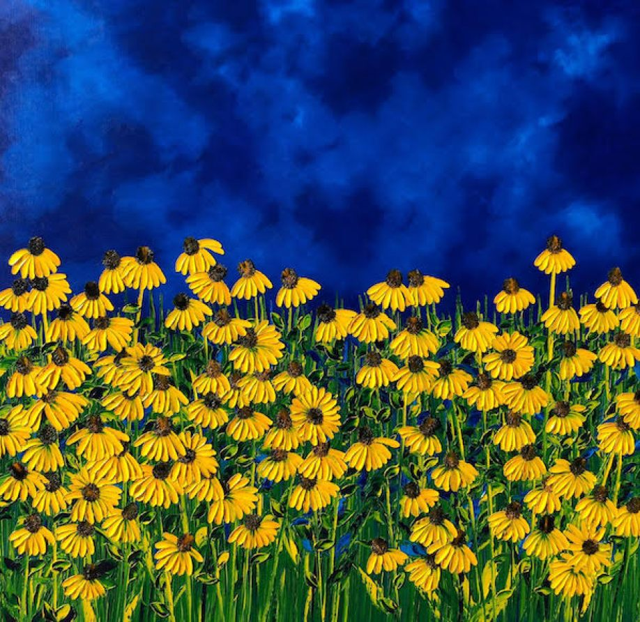 An artwork with yellow daisies on a blue background.