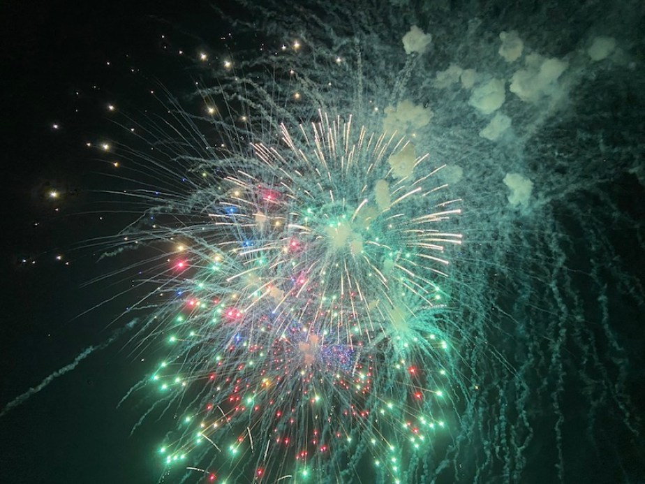 Green fireworks in a night sky