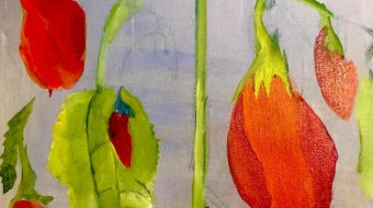 A painting of red and green peppers hanging from a plant