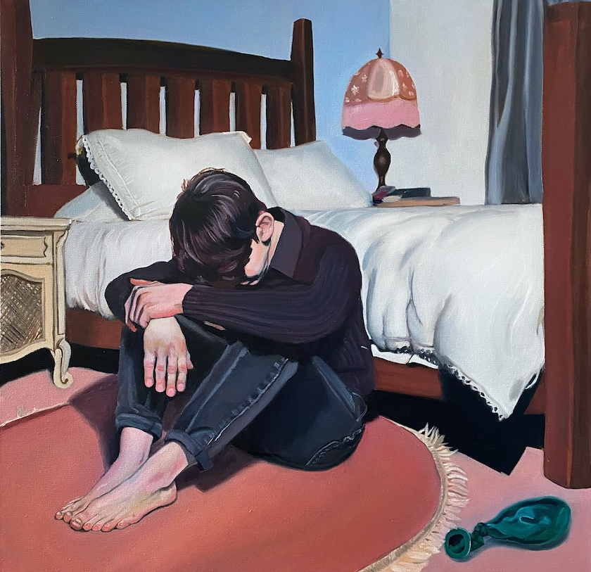 A colorful oil painting of a person in a bedroom sitting on the floor with their head down