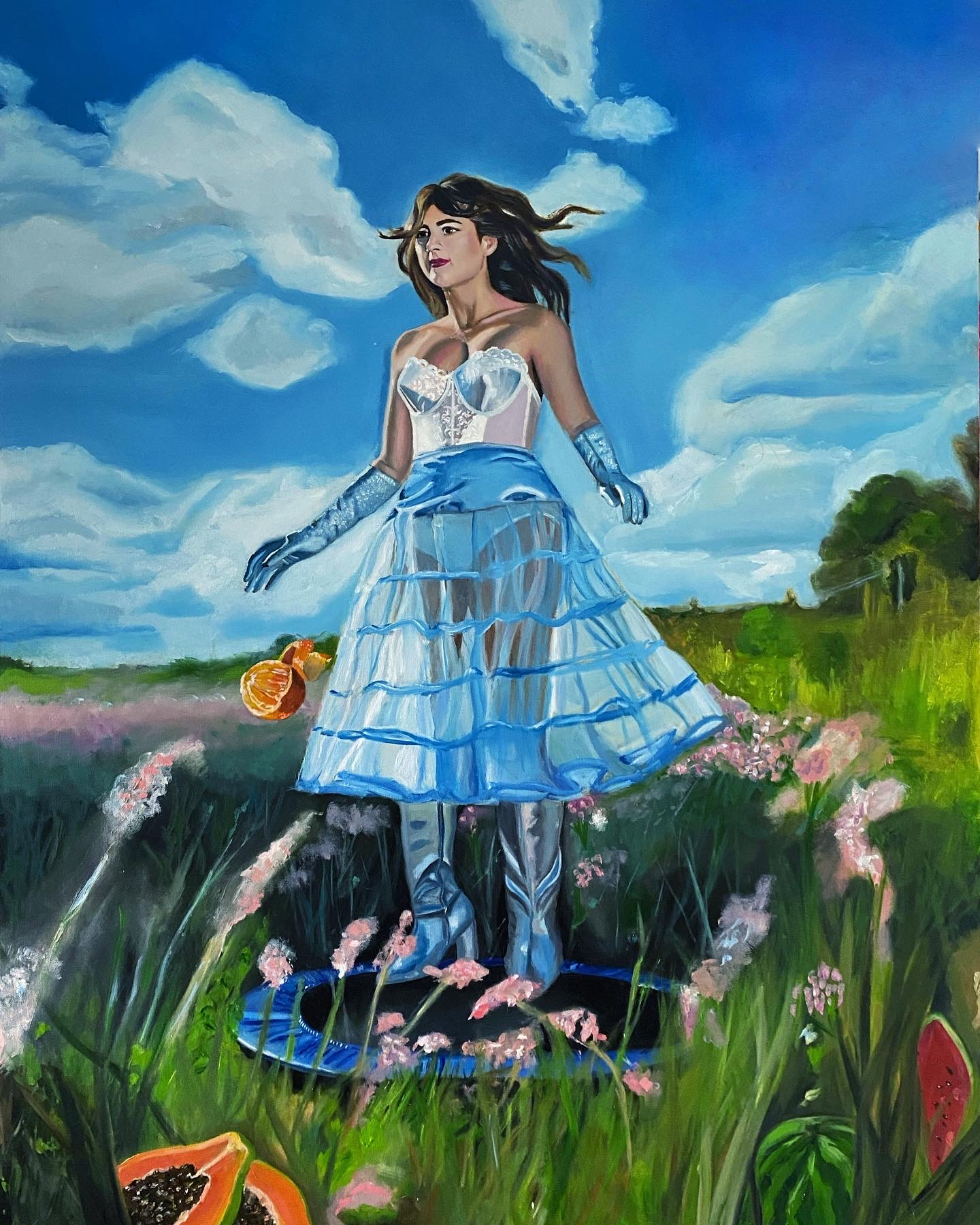 A painting of a woman in blue dress outside on a trampoline