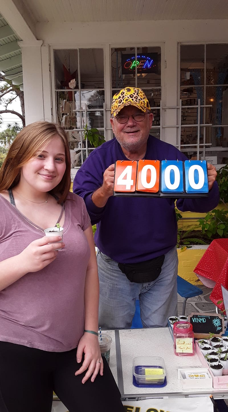 A young woman and a man with a sign that says 4000.