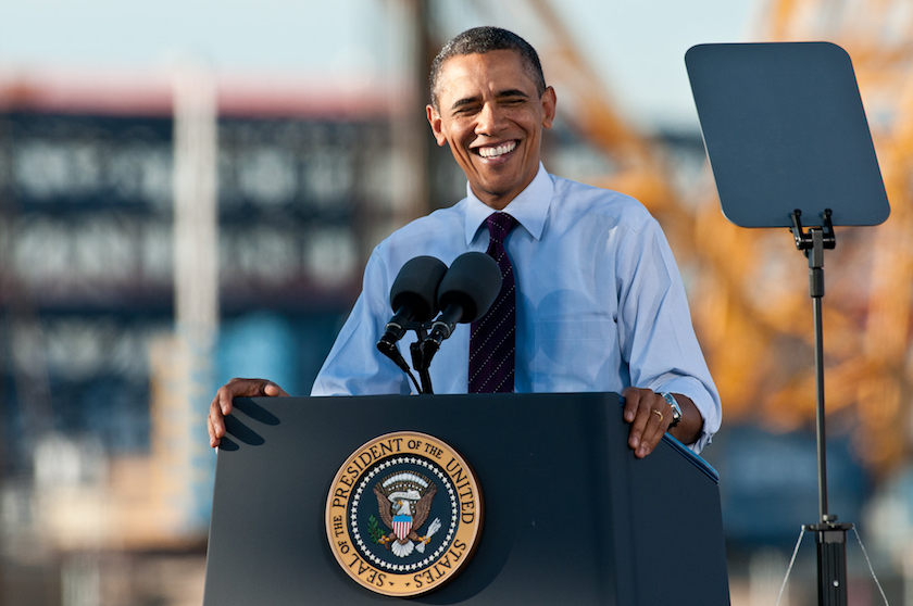 A photo of President Barack Obama at a podium