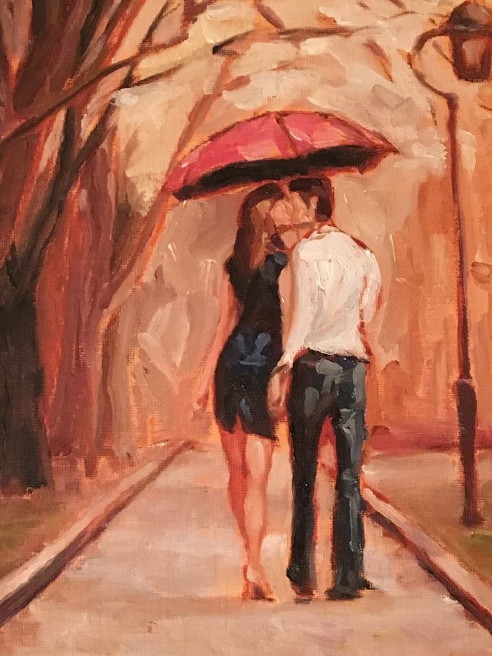 A paining of a man and woman kissing under a red umbrella