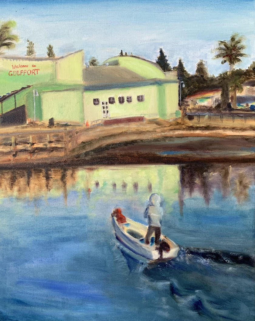 A painting of a person in a boat headed toward a beach and a green building