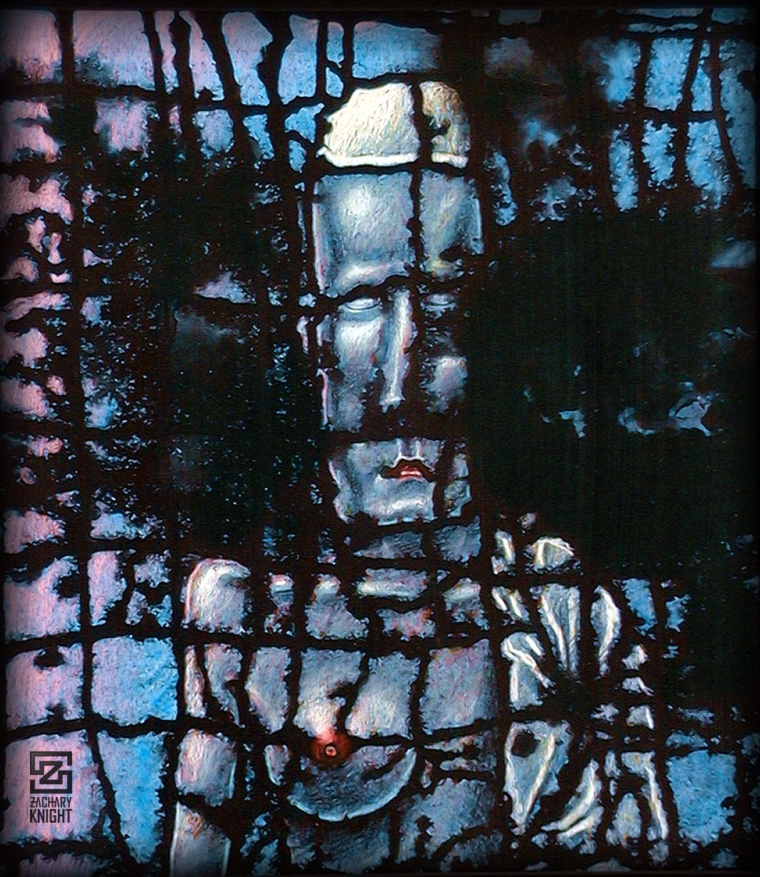 A dark painting with the segmented face of a man