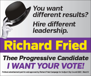 "A political advertisement reading ""You want different results, Hire different leadership. Richard Fried, Thee progressive candidate; I want your vote"""