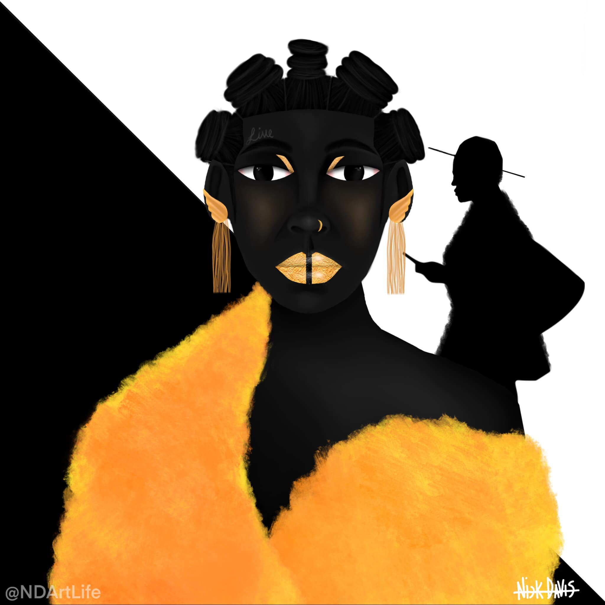 An art piece with a silhouetted man and a woman looking at the viewer with an orange cape , lipstick and earrings