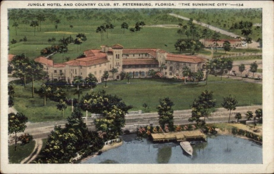 A vintage postcard of the Jungle Hotel and Country Club in St. Petersburg Florida circa 1925