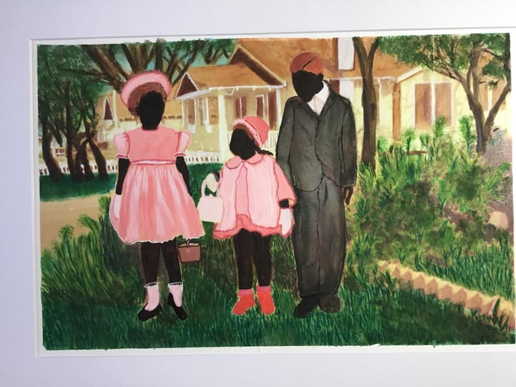 A colorful painting of a family in Sunday best clothes.
