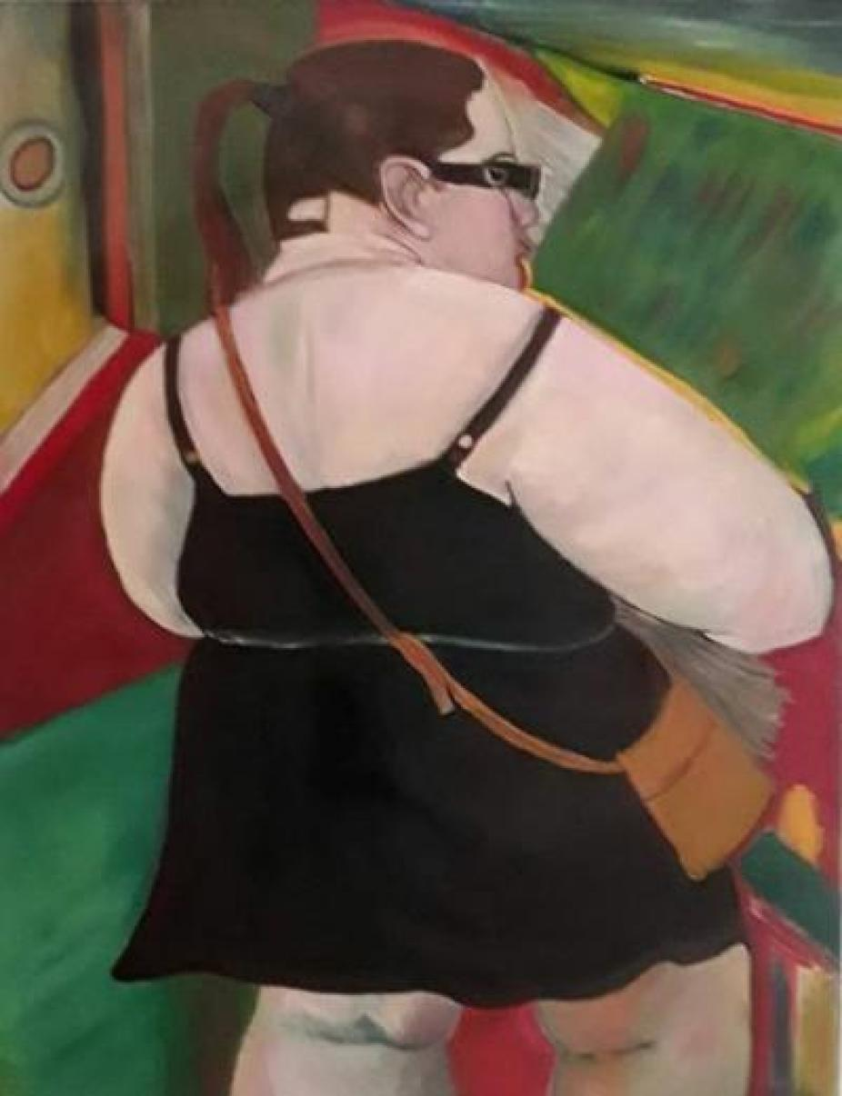 A painting of a large woman in a black dress