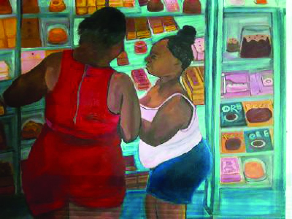 A painting of two women in a grocery store