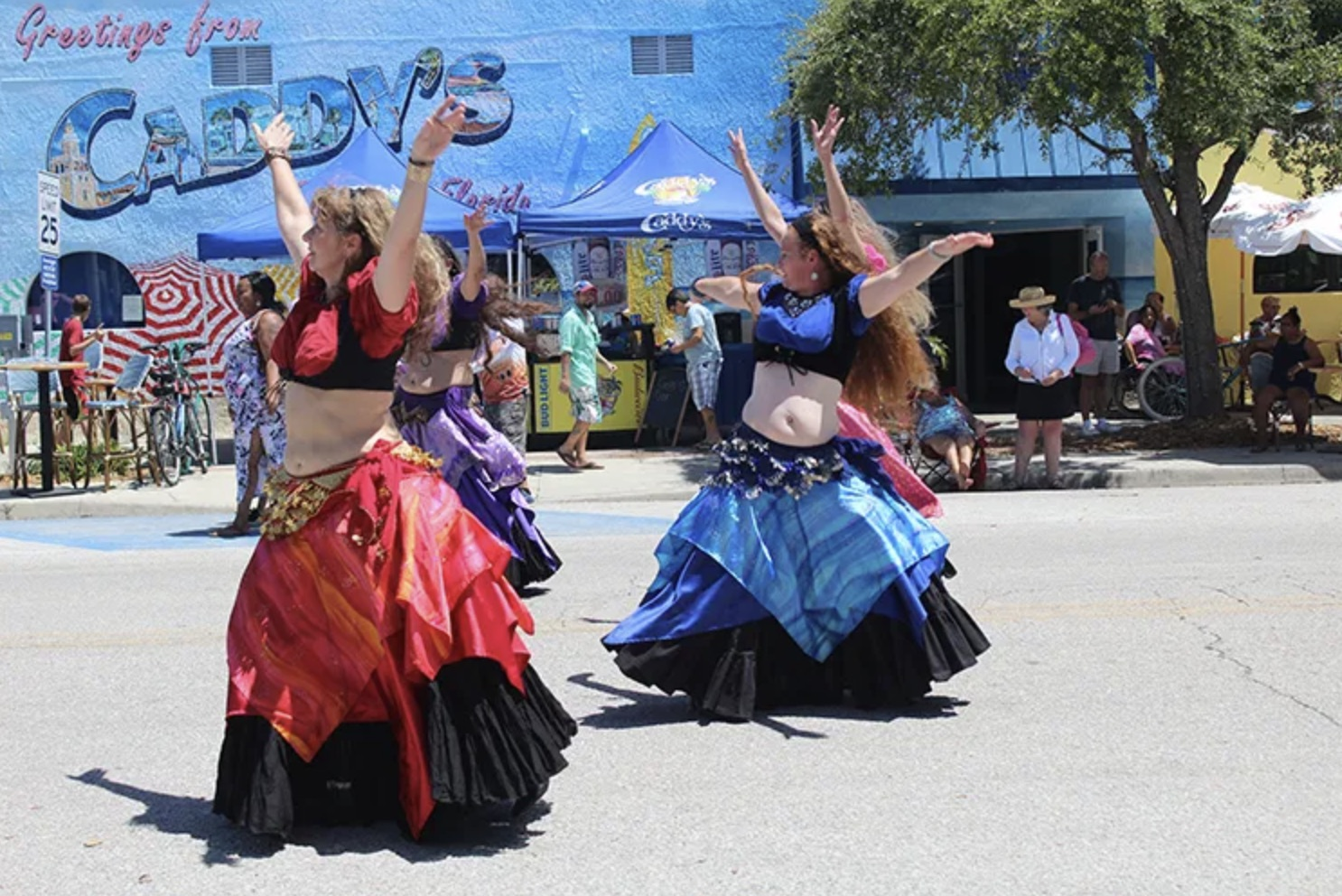 Belly dancers performing in a street festival.