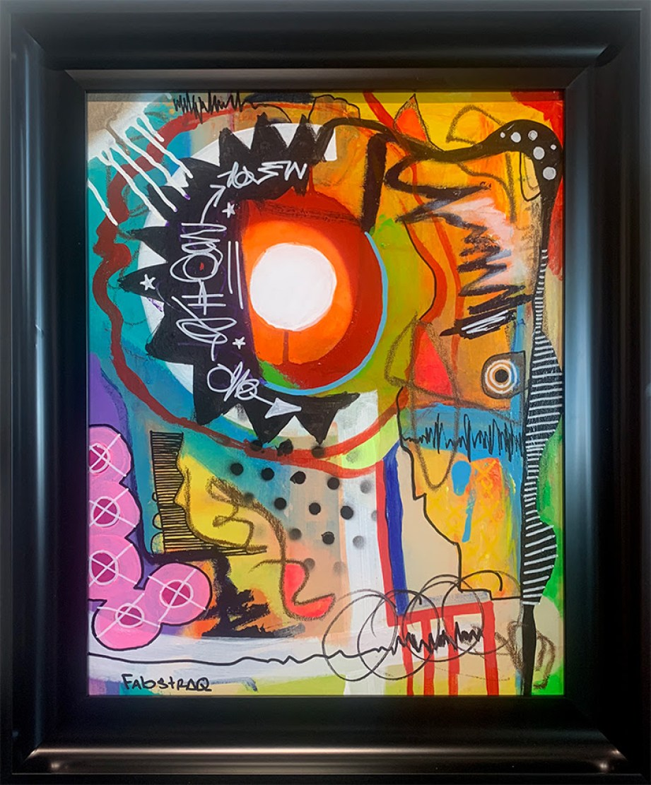 An abstract piece of art in multi vivid colors in a black frame