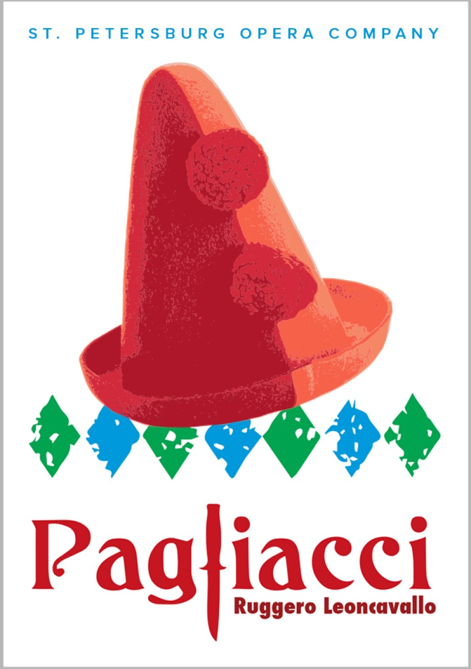 """A poster for the play """"Pagliacci"""" by Roggero Leoncavallo featuring a pointy red hat in a white background with the words """"St. Petersburg Opera Company"""" on the top in blue."""